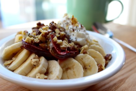 coconut oatmeal with caramelized figs and walnuts